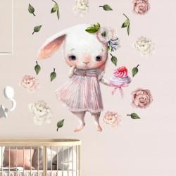 NAKLEJKI na ścianę do pokoju dziewczynki Króliczek w kwiatach 50x100cm
