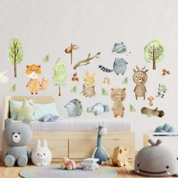 NAKLEJKI na ścianę do pokoju dziecka Leśne Zwierzątka 50x100cm