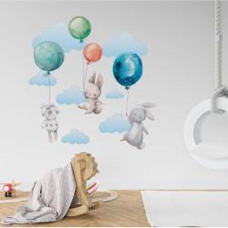 NAKLEJKI na ścianę do pokoju dziecka Niebieskie Króliczki 50x100cm