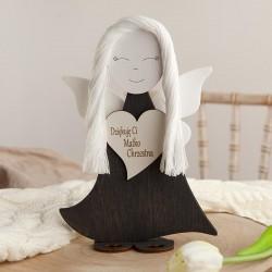 ANIOŁ drewniany filcowe skrzydełka dla Matki Chrzestnej 23cm