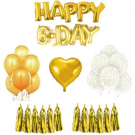 MEGA ZESTAW balonów urodzinowych ZŁOTY