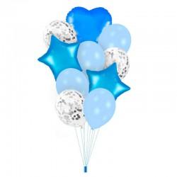 ZESTAW balonów na Chrzest i Roczek niebiesko-srebrny