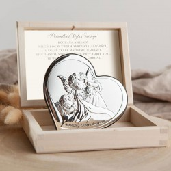 PAMIĄTKA Chrztu Świętego Srebrny Obrazek Srebro 925 LUX