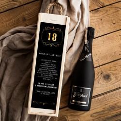 PREZENT na 18 urodziny skrzynia+wino Cava Z IMIENIEM