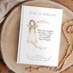 BIBLIA Pamiątka I Komunii Świętej Z IMIENIEM DUŻA rustykalna Anioł Stróż NEW