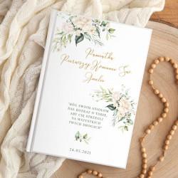 BIBLIA Pamiątka I Komunii Świętej Z IMIENIEM DUŻA Botaniczne Białe Kwiaty NEW