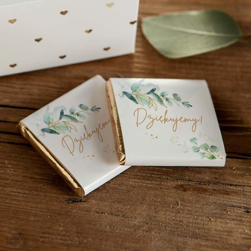 Botaniczna czekoladka z napisem Dziękujemy na ślub