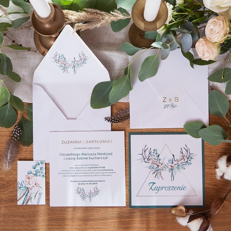 Personalizowane zaproszenia z motywem kwiatowego poroża