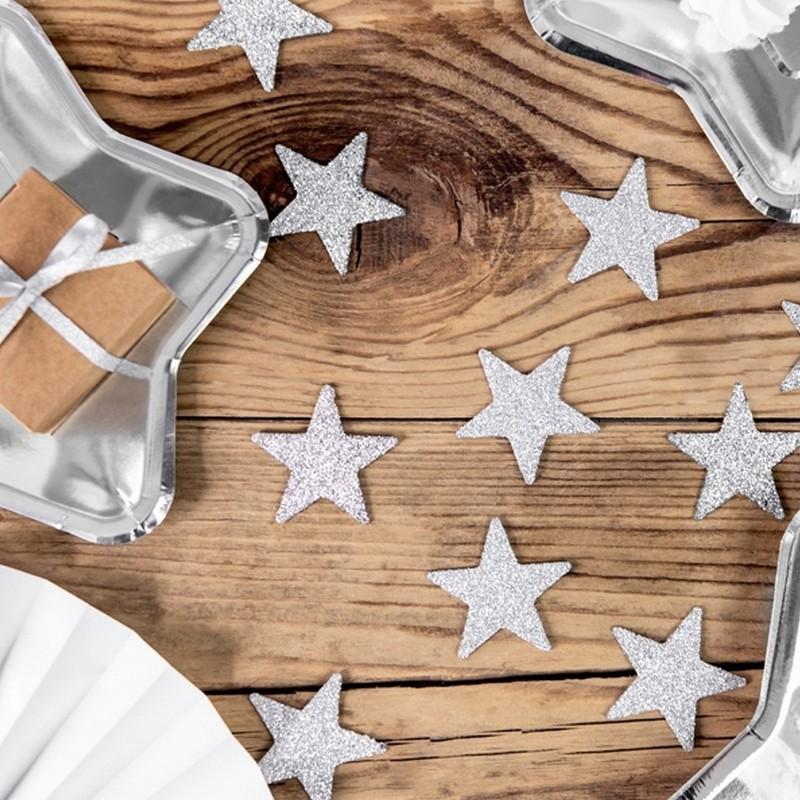 Brokatowe srebrne gwiazdki konfetti