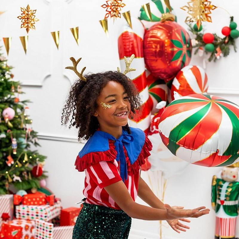 Opaska świąteczna brokatowe rogi renifera