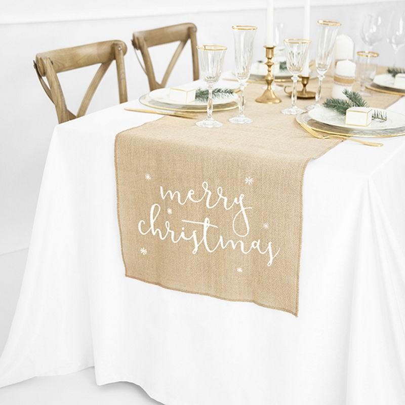 Jutowy bożonarodzeniowy bieżnik do dekoracji stołu