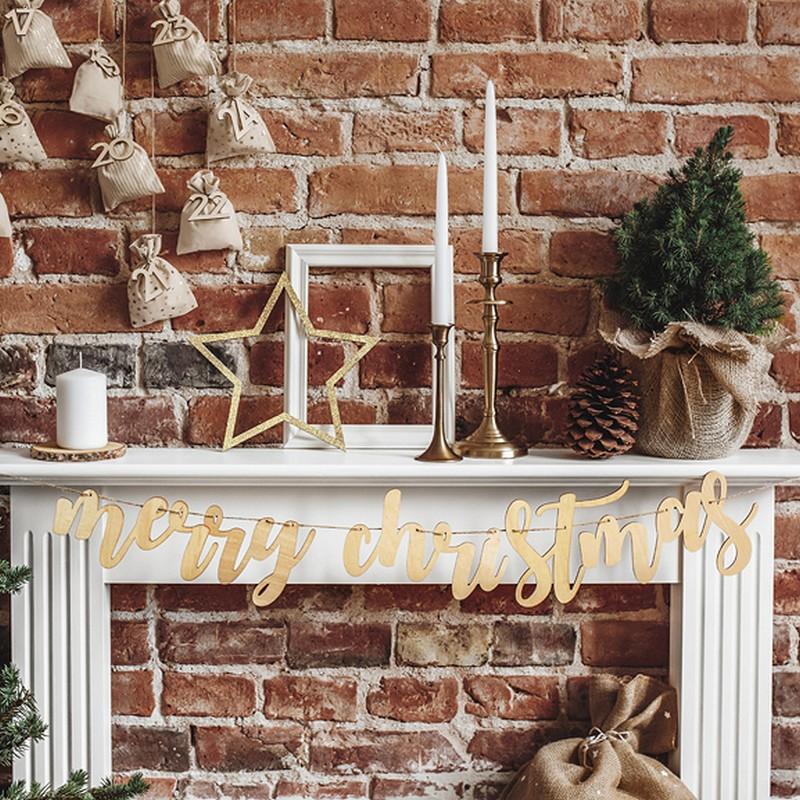 Drewniana girlanda świąteczna napis Merry Christmas