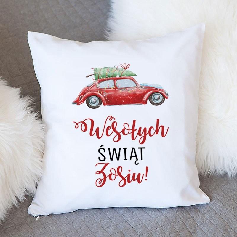 Świąteczna poduszka z imieniem jako prezent świąteczny