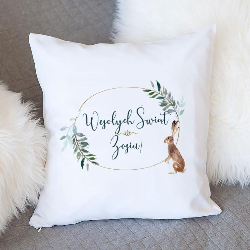 Prezent świąteczna poduszka z zającem dla kobiety