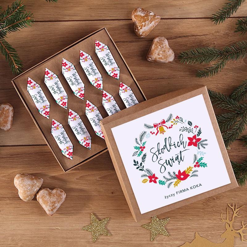 Bombonierka z krówkami jako prezent świąteczny z podpisem