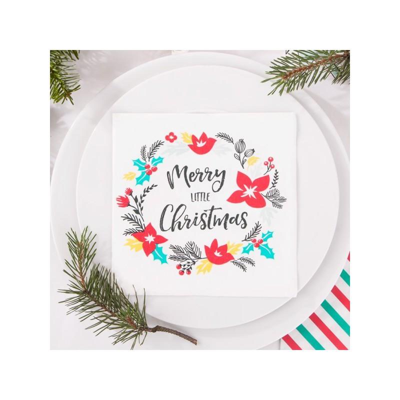 Świąteczne serwetki z napisem Merry little Christmas