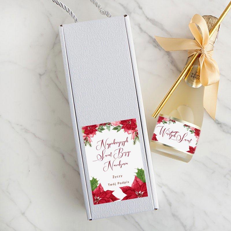Małe wino musujące na świąteczny prezent dla pracowników lub klientów biznesowych