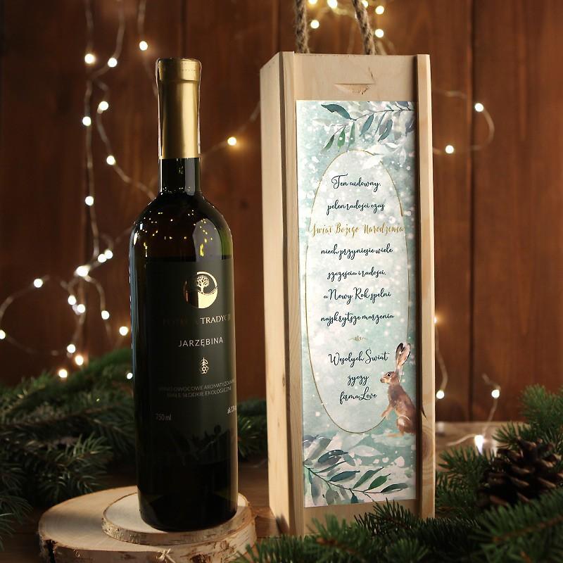 Butelka wina jarzębinowego w drewnianej skrzyni z podpisem i życzeniami