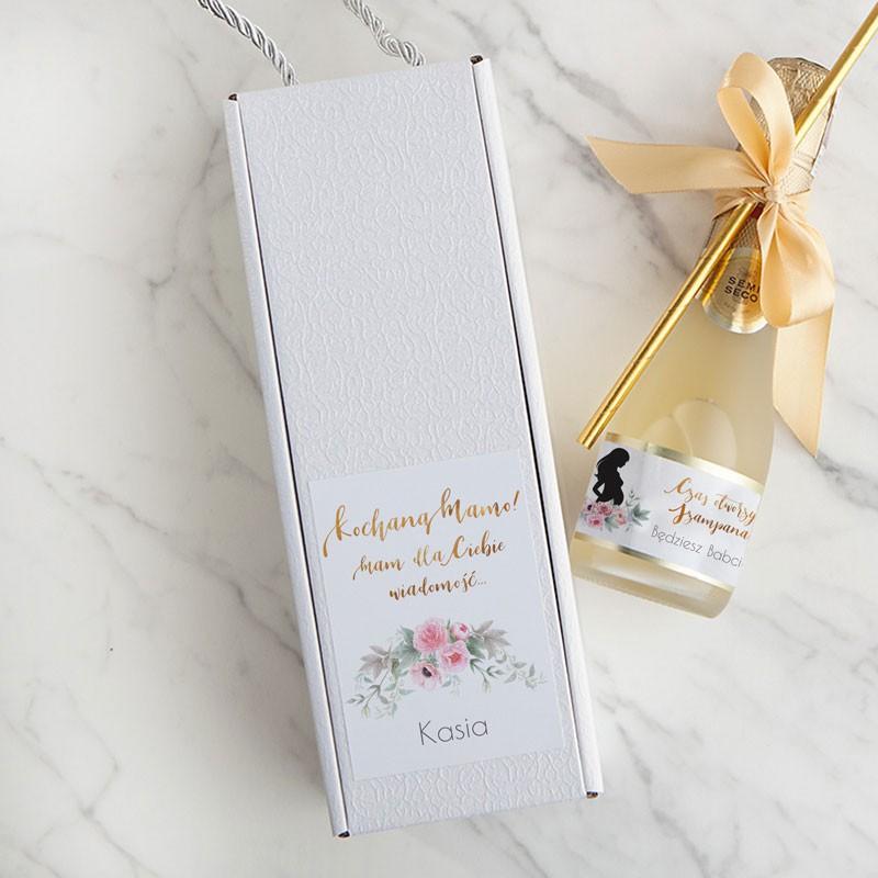 """Wino musujące w pudełku dla bliskich z napisem """"Będziesz Babcią/Dziadkiem/Tatusiem"""""""