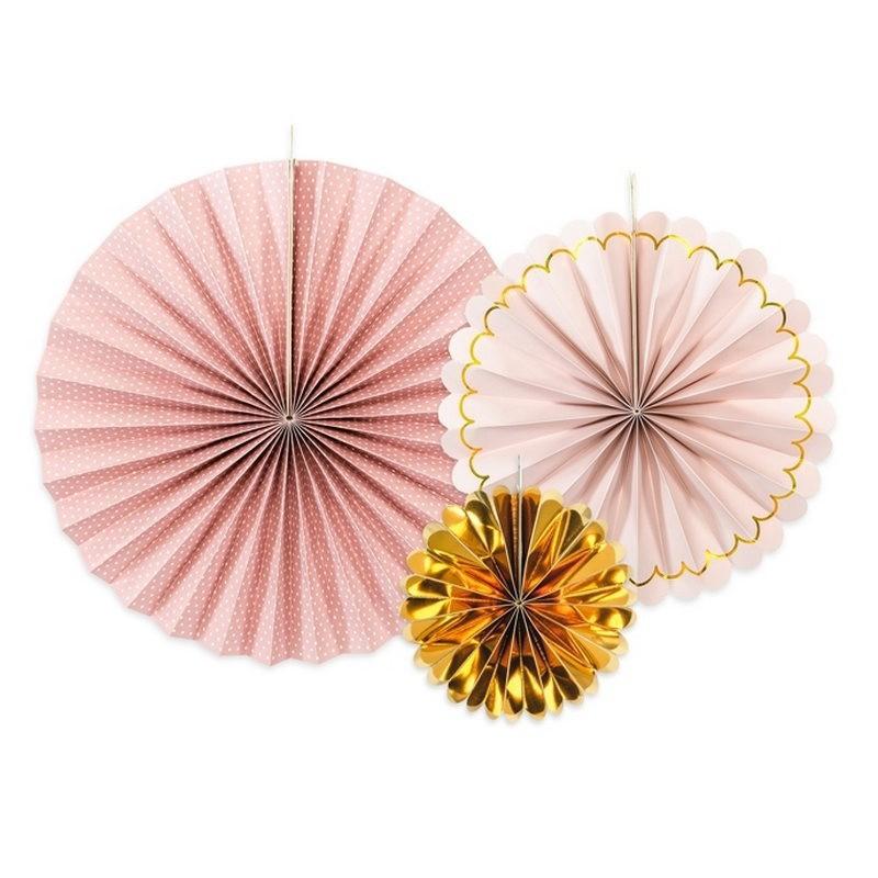 Złoto - różowe rozety na Wieczór Panieński do dekoracji sali