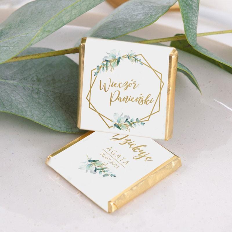 Botaniczna czekoladka na Wieczór panieński z imieniem i datą
