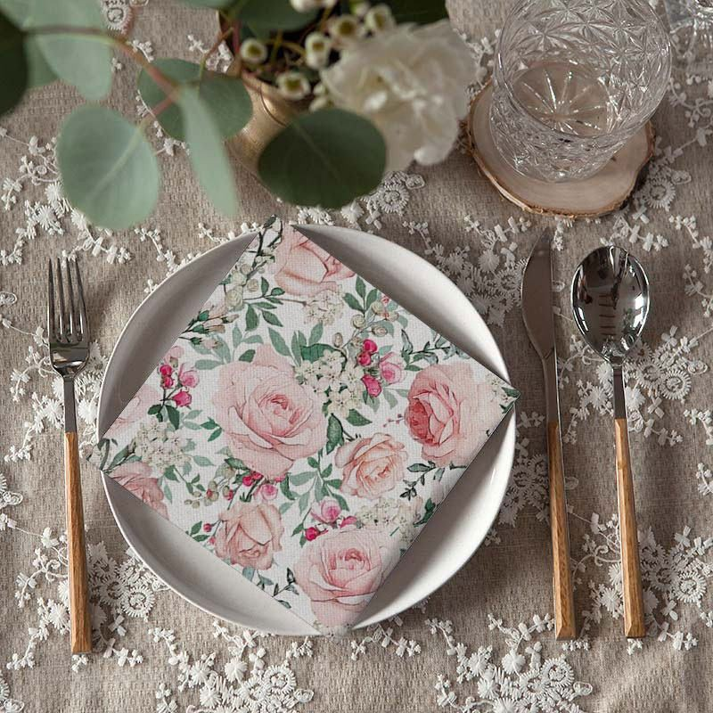 Serwetki na Wieczór Panieński z wzorem pudrowych róż