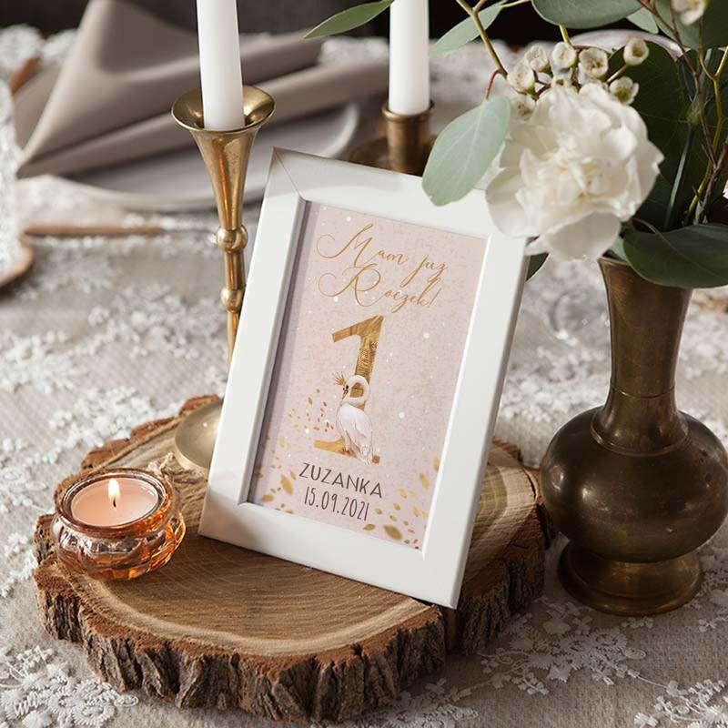 Personalizowana dekoracja stołu na roczek jedynka z łabędziem