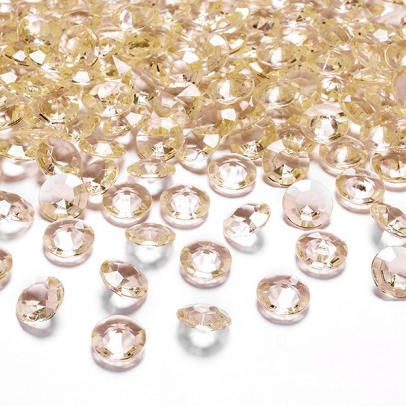 Złote ozdobne diamenciki do dekoracji stołu