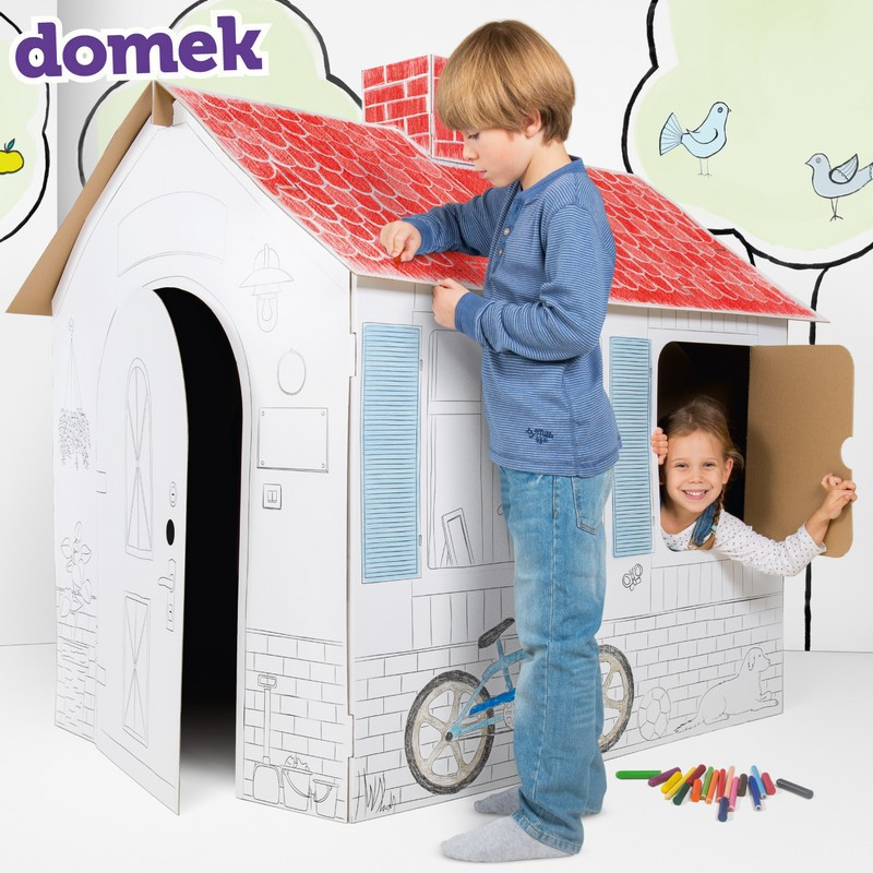 Tekturowy domek do kolorowania dla dzieci