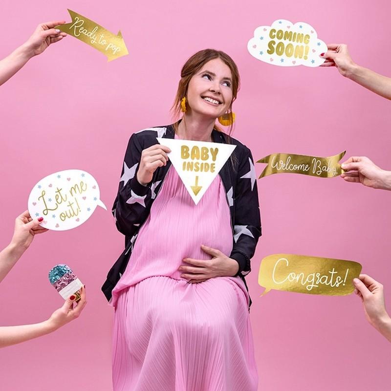 Tabliczki na Baby Shower do zdjęć w kolorze złotym