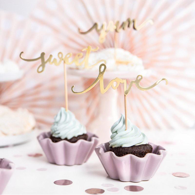Karteczki do muffinek złote Love Sweet Yum