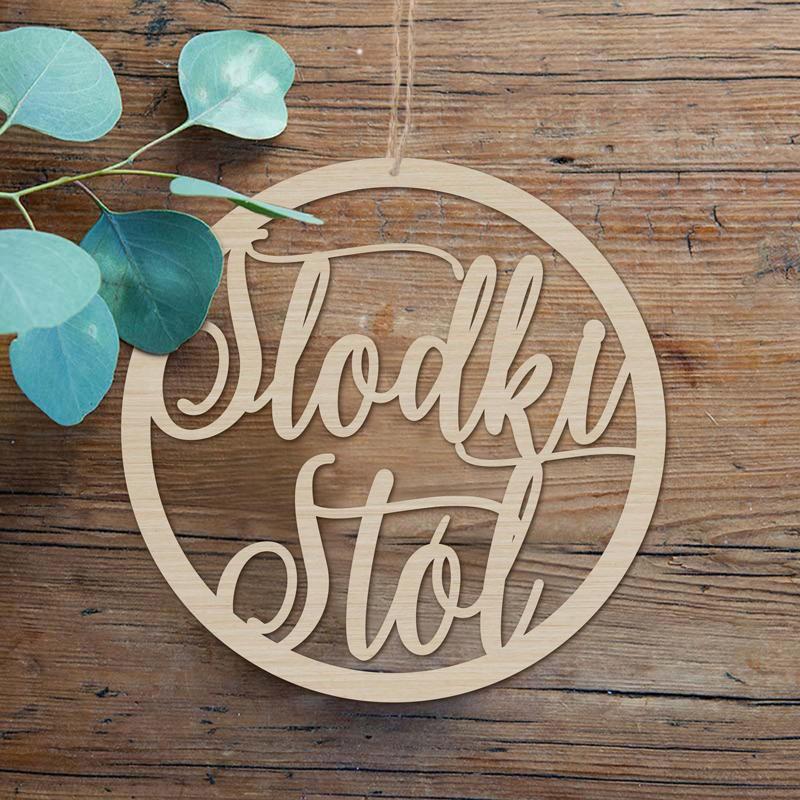 Drewniana obręcz Słodki Stół na Baby Shower