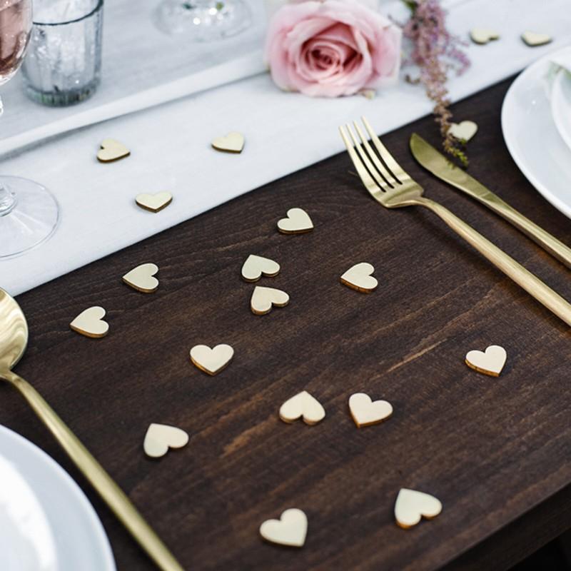 Konfetti drewniane serduszka - dekoracja stołu na Baby Shower