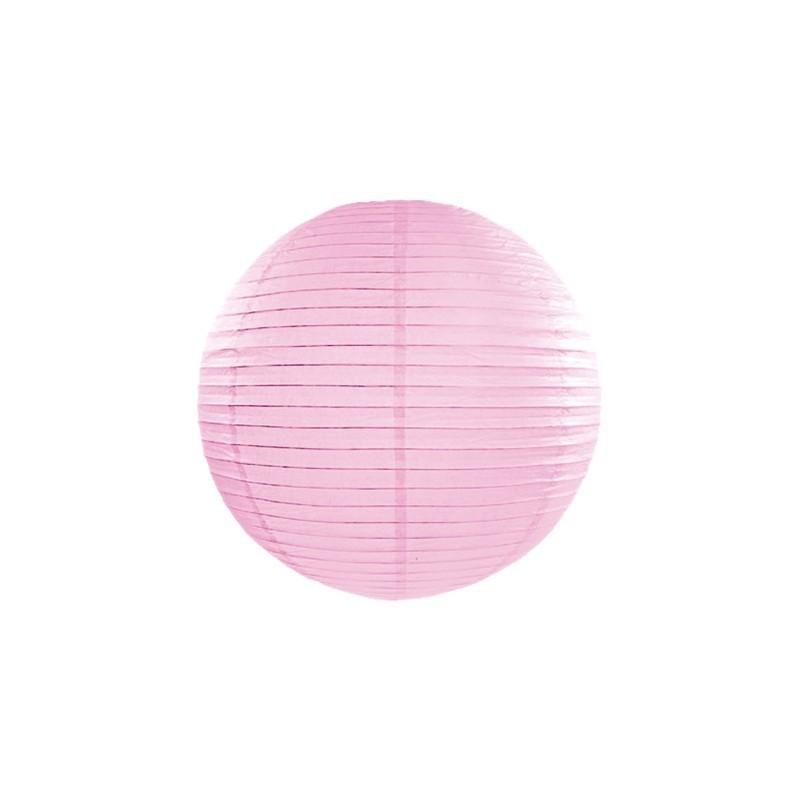 Różowy dekoracyjny lampion kula wykonany z papieru
