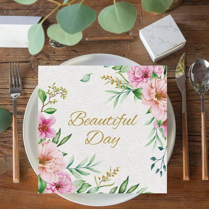 Flizelinowe serwetki z kwiatami i napisem Beautiful Day