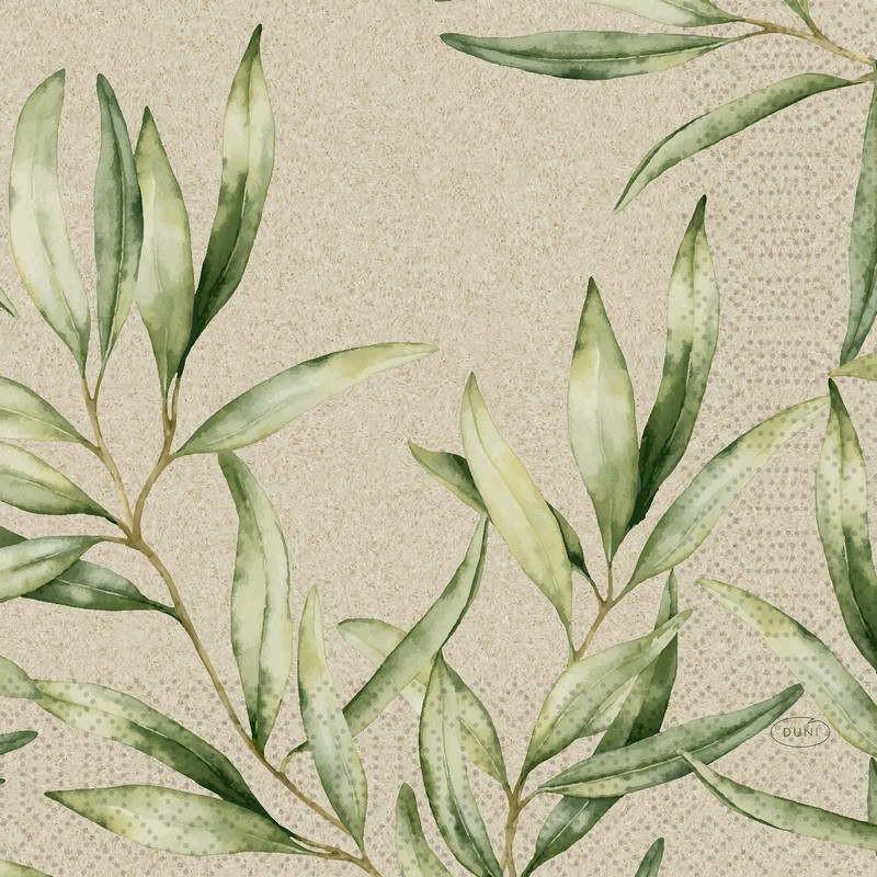 Papierowe serwetki z wzorem delikatnych listków