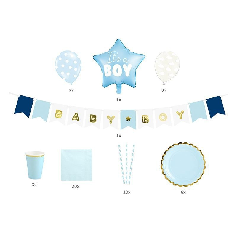 Błękitne dekoracje sali i stołu na Baby Shower
