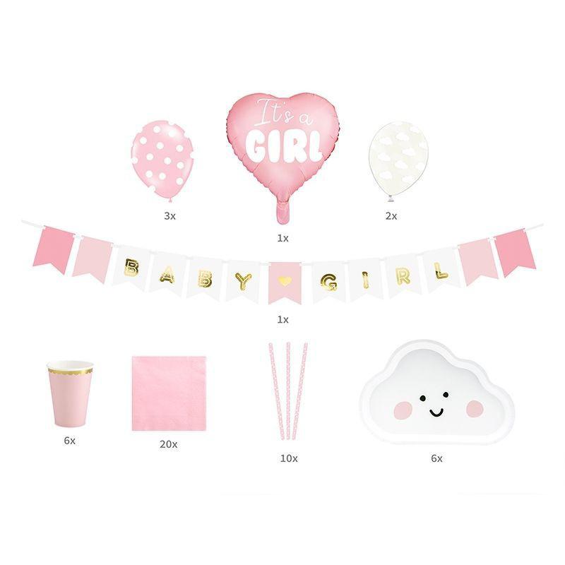 Różowy zestaw dekoracji na Baby Shower dla dziewczynki