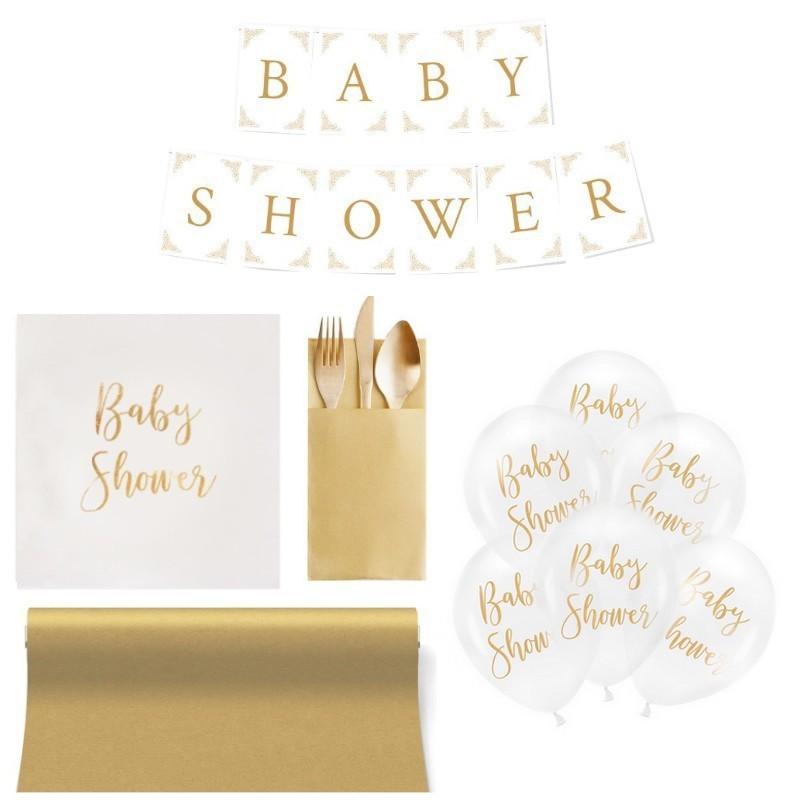 Uniwersalny biało-złoty zestaw dekoracji sali na Baby Shower
