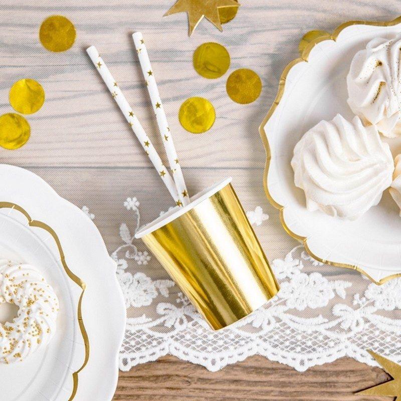 Złote metaliczne kubeczki do słodkiego barku na urodzinki dziecka