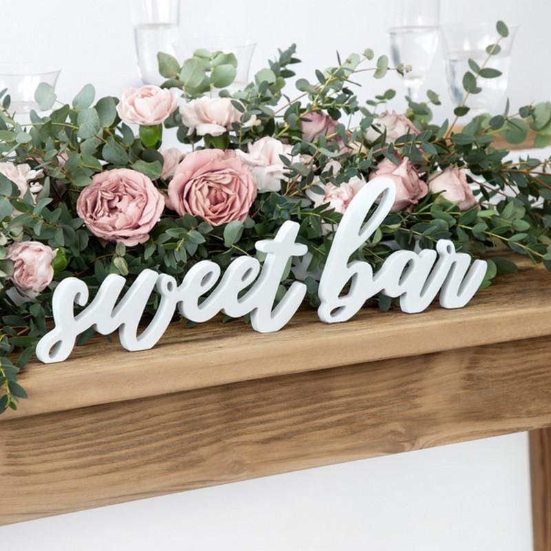 Drewniany napis sweet bar do słodkiego stołu na Roczek