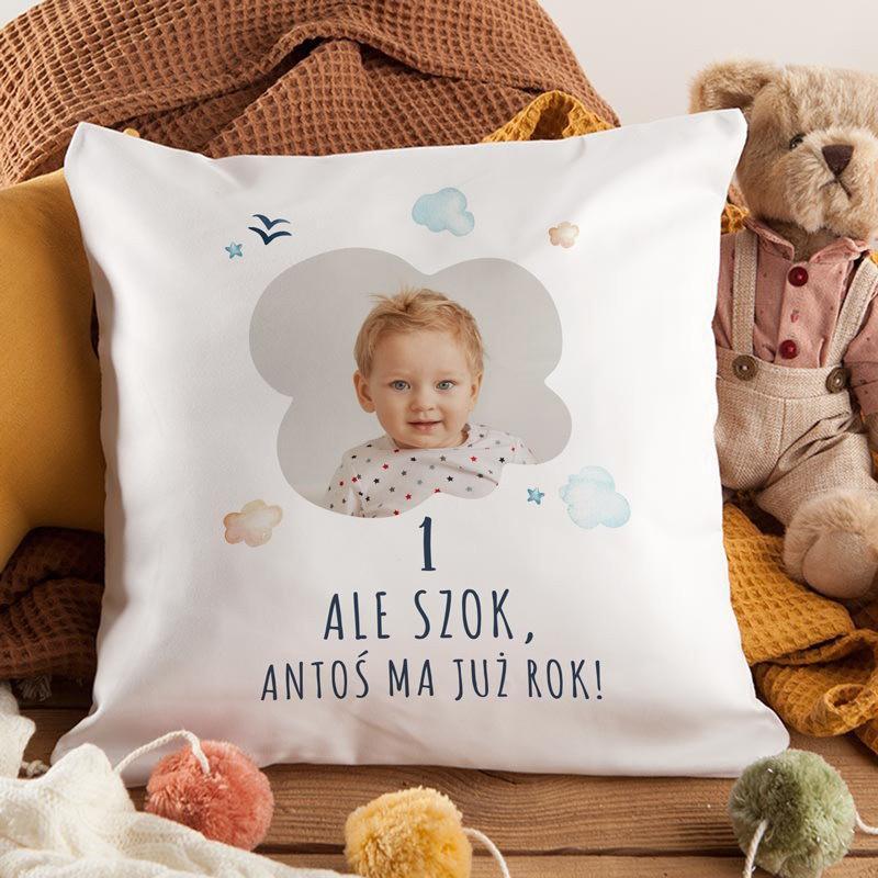 Personalizowana poduszka na Roczek ze zdjęciem dziecka