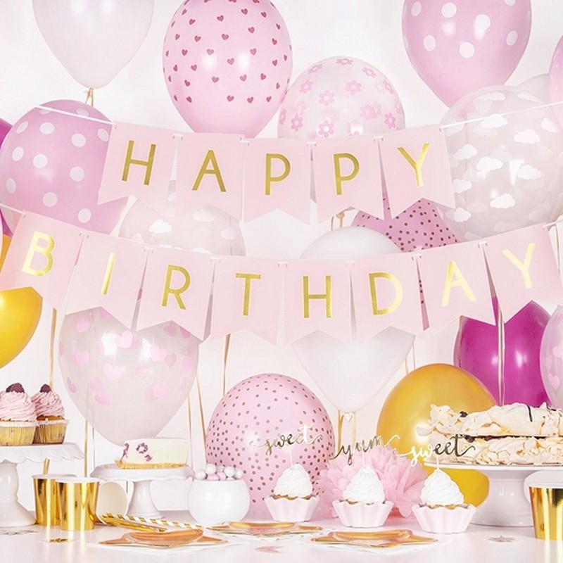 Różowy baner Happy Birthday