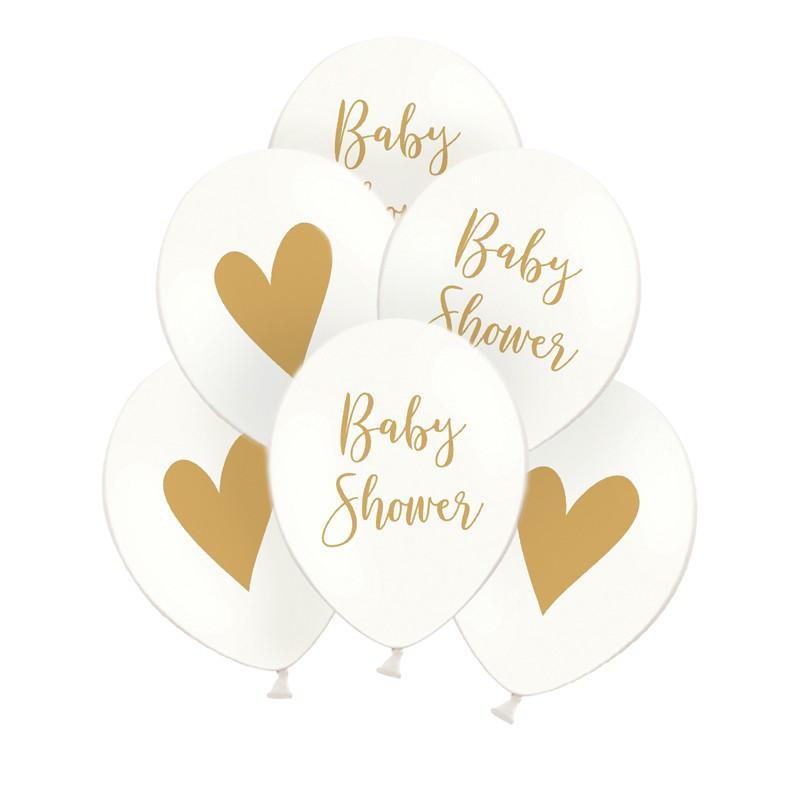 Białe balony ze złotym nadrukiem serca i napisu Baby Shower