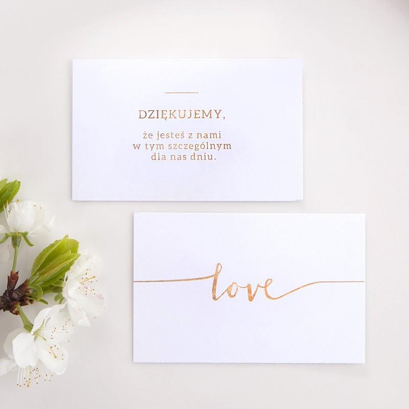 Bileciki do podziękowań weselnych ze złotym napisem Love