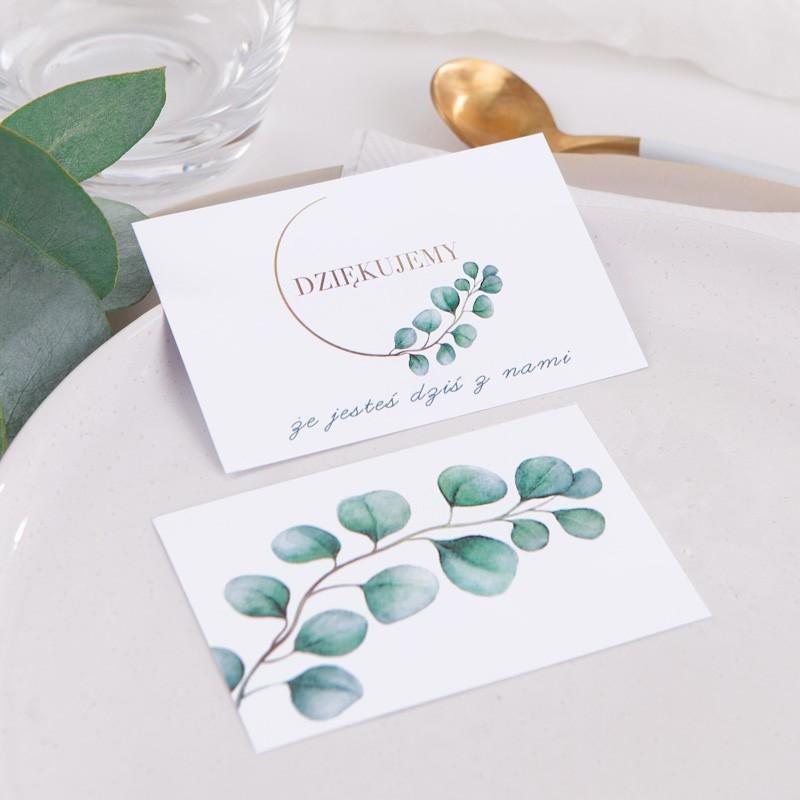 Bileciki do podziękowań na wesele z eukaliptusem