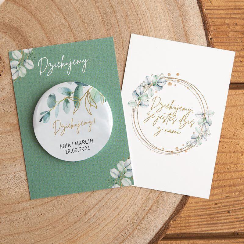 Podziękowanie dla gości weselnych magnes z imionami i datą