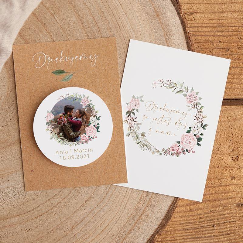 Magnes podziękowanie dla gości na wesele ze zdjęciem, imionami Pary Młodej i datą