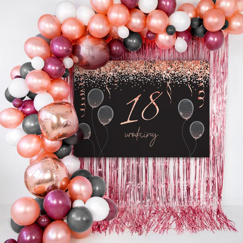 Ścianka do zdjęć na 18 urodziny w kolorze rosegold