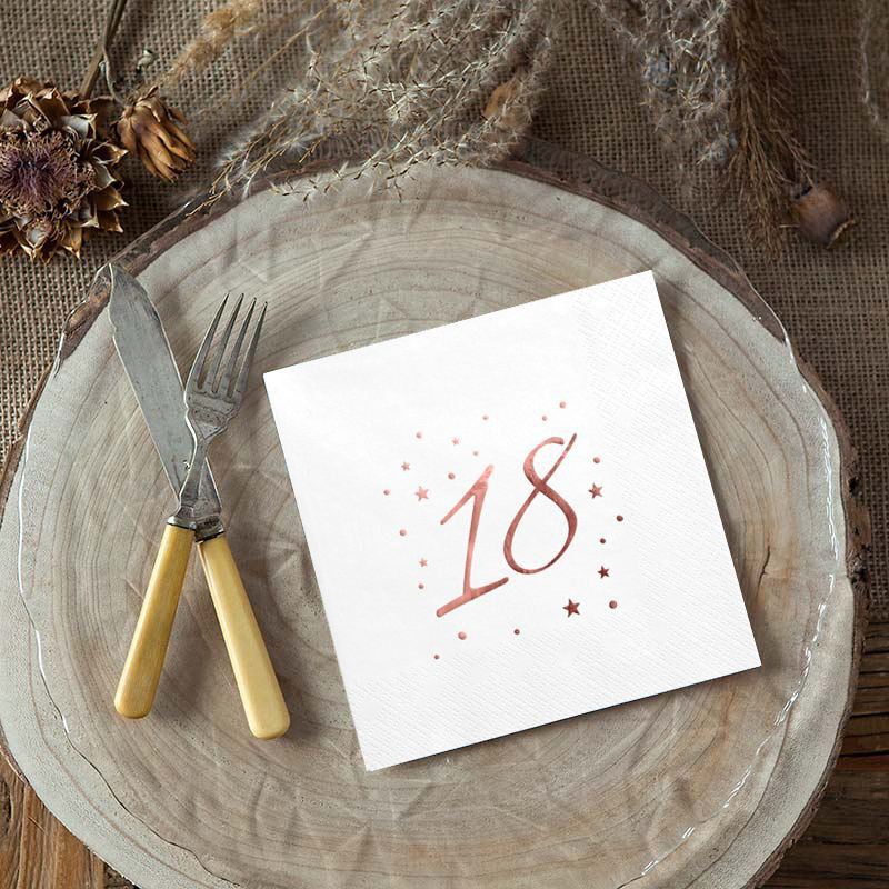 Serwetki na 18 urodziny z rosegold nadrukiem